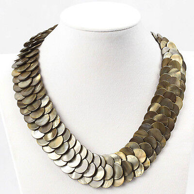 """Ladies Fashion Jewelry Natural River Shell Disc Necklace 18"""" with 2"""" Extender"""