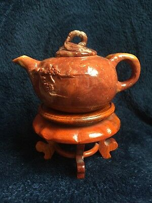 Vintage Chinese Soapstone Teapot Handcarved Plum Blossom w wood base collection
