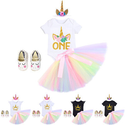 Toddler Baby Girls Unicorn 1st Birthday Party Outfit Cake Smash Tutu Skirt 4pcs