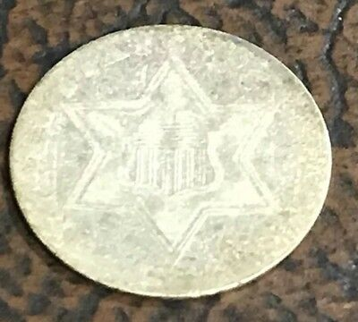 1858 Three Cent Silver Trime Coin US Piece Ok Shape Barely Readable Date