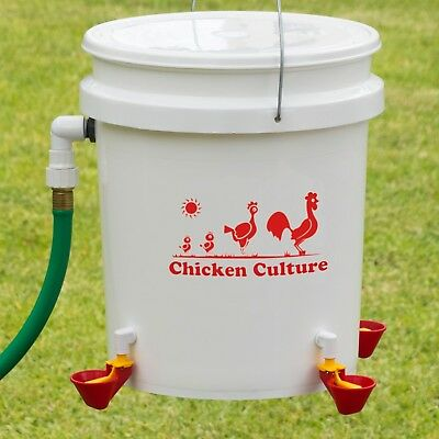 Automatic Chicken Waterer Bucket Kit - Poultry Water Drinking Cups & Float Valve
