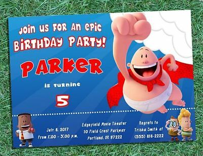 Captain Underpants Birthday Invitations