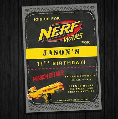 Nerf Wars Birthday Invitations