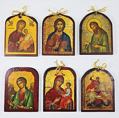 Vintage Handmade in Greece Ornaments Russian Orthodox Religious Icon Set of 6