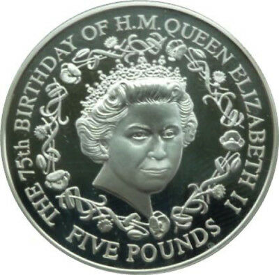 2001 £5 75Th Queen Elizabeth Ii 5 Five Pound Coin Uncirculated Crown Guernsey