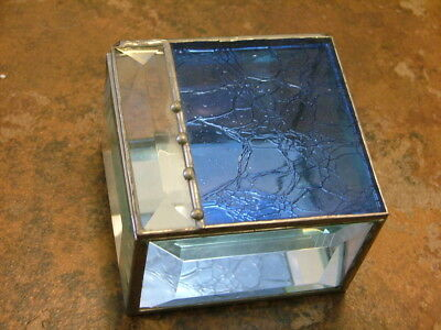 Vintage Leaded Beveled BLUE STAINED GLASS trinket jewelry box Mirror 3X3X2 Gift
