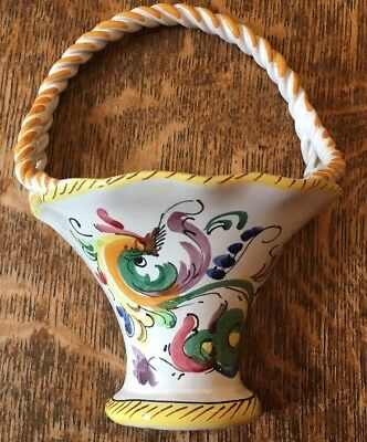 Basket Wall Pocket Vase -  From Italy- Hand Painted