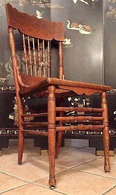 Antique Wood Chair Mid Century Hand Carved Wicker Wooden Chair  Style Old Seat 1