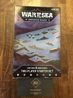 Axis & Allies War At Sea 2 Player Naval Miniatures Game Starter Set New & Sealed