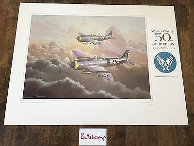 US Air Force WW2 50th Anniversary Fine Arts Lithograph Series P-47 Stokes
