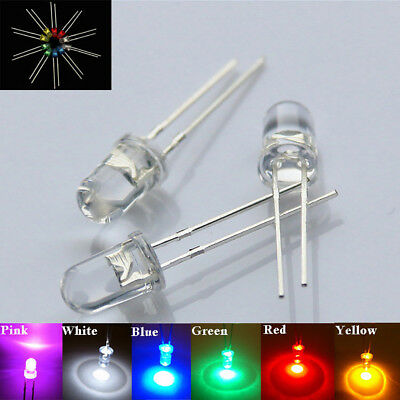 UK_ 3/5mm LED Bulbs Ultra Bright Water Clear LEDs 3V Colours Light Emitting Diod