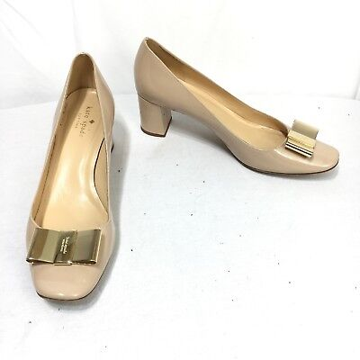 1777d856c4fd Kate Spade Womens 9 B Nude Patent Leather Gold Tone Accent Bow Block Heel  Pumps