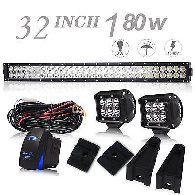 "32inch Led Light bar + 2X 4"" Work Driving Pod For Offroad Fog Jeep SUV Truck 30"""