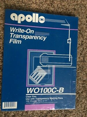 """Apollo Write-On Transparency Film 8.5 x 11"""" Clear 100 Sheets:  WO100C-B Sealed"""
