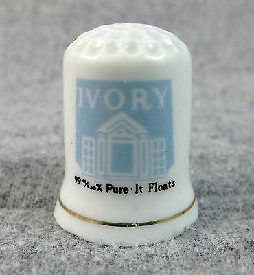 Ivory Thimble 99-44/100% Pure It Floats   Blue and White with Gold Trim