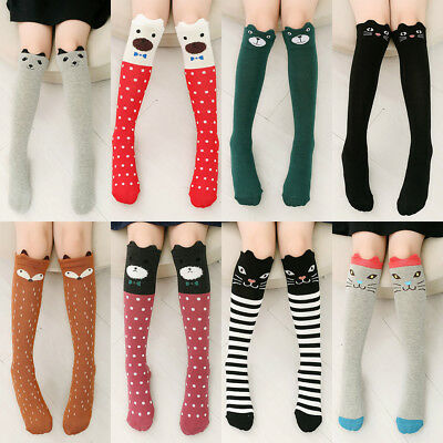 UK_ HK- Kids Girls Over Knee Thigh High Long Socks Cartoon Elastic Stockings San
