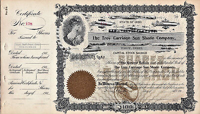TROY CARRIAGE SUN SHADE COMPANY - STOCK CERTIFICATE - TROY, OHIO - Circa 1900