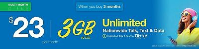 LYCAMOBILE Preloaded sim Card $23x3 Months with 3GB data and Unlimited Calls