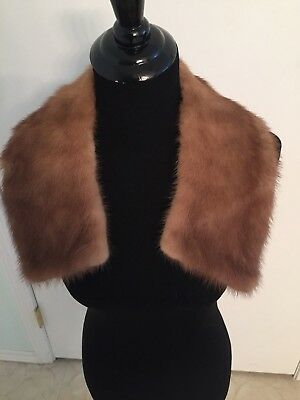 """Vintage Mink Collar with Two Hooks and Eyes 5"""" Wide Pretty Finished Nicely"""