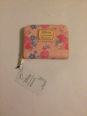 New Disney Loungefly Floral Zip Wallet Pink Small
