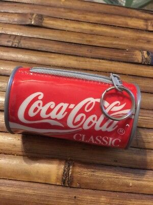 Coca Cola Classic key chain Change purse about 3.75 inches Soft Plastic
