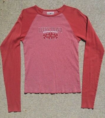 Vintage Lucky Brand Casual Womens Red Long Sleeve Tee T Shirt Worn 2-3x Size Med