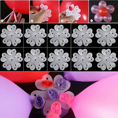 UK_ 10Pcs Flower Shape Balloon Clip Tie Holder Birthday Wedding Party Decor Cool