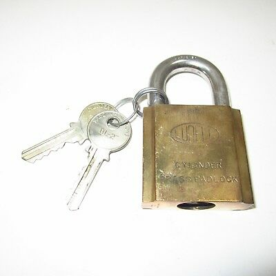 Antique Ludell Brass Padlock With Key