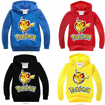 Pokemon Pikachu Kids Boys Girls Long Sleeve Hoodie Hooded Top Sweatshirt Sweater