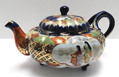 Vintage Teapot Porcelain Japanese Red/Gold Mark Cobalt Gold Green HP Scenic Old