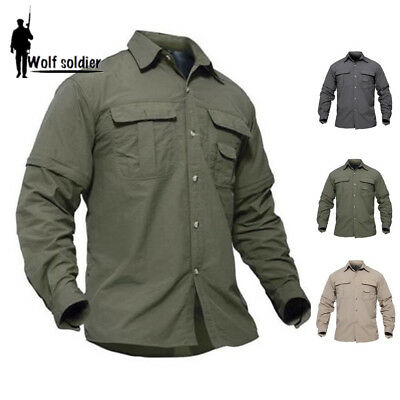 Mens Shirts Quick Drying Long Sleeve Casual Shirt Army Military Hiking Outdoor