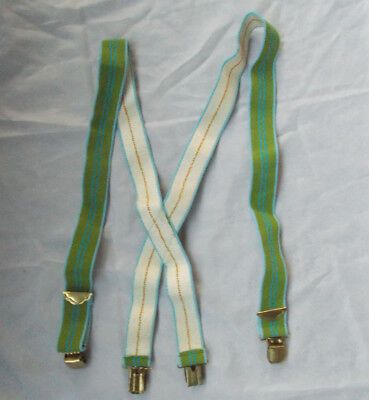 Vintage Green and Blue clip style Terry Elastic Braces Suspenders Wonderful!