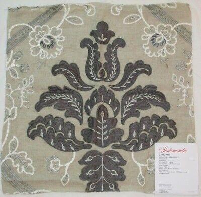 "Scalamandre ISABELLA EMBROIDERY Fabric Remnant Linen 16.5 x 17"" Sample Graphite"