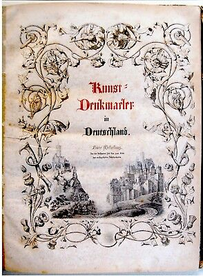1844 Antique GERMAN ART BOOK Lithographs ETCHINGS Deutschland KUNST DENKMAELER