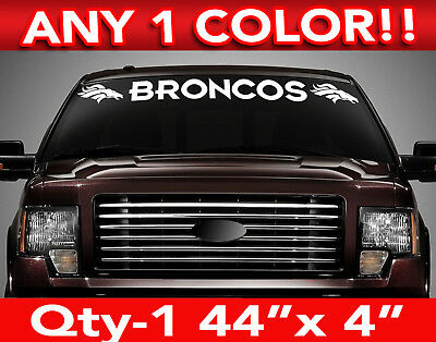 """DENVER """" BRONCOS """" w/Heads WINDSHIELD DECAL STICKER 44""""w x5""""h ANY 1 COLOR"""