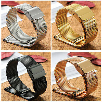 316L Stainless Steel Mesh Watch Band Belt Strap Silver Bracelet Clasp 14-22MM