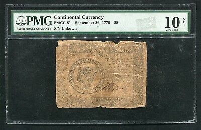 Cc-81 September 26, 1778 $8 Eight Dollars Continental Currency Note Pmg Vg-10