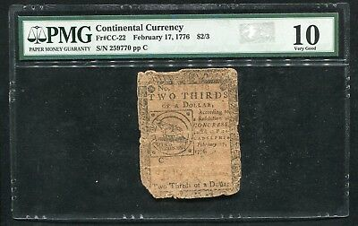 "Cc-22 February 17, 1776 $2/3 Continental Currency Note ""Fugio"" Pmg Vg-10"