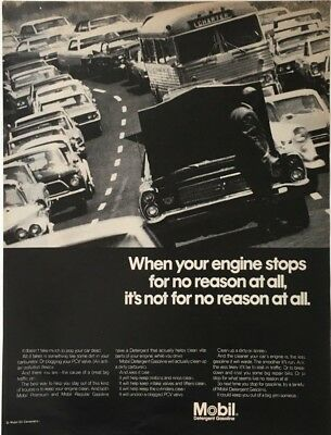 1968 MOBIL Detergent Gasoline When Your Car Stops for No Reason Vintage PRINT AD