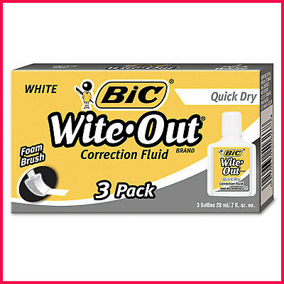 [No Tax] BIC Wite-Out Quick Dry Correction Fluid, 20 ml Bottle, White, 3pk.