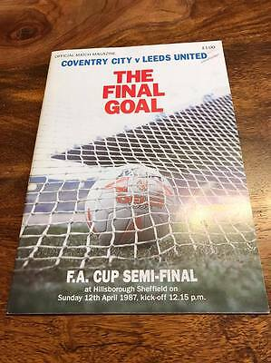 Coventry City V Leeds United 1987 Fa Cup Semi Final Programme Mint Free Post