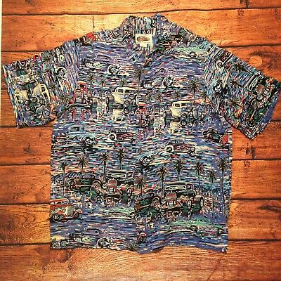 985ab330 Reyn Spooner Art of Eddy Hawaiian Mens Shirt Hot Rod Watercolor Button Dow  So Lg