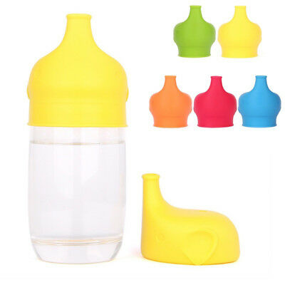 UK_ Kid Elephant Shape Suction Cup Cover Silicone Sippy Suck Bottle Trainingcup