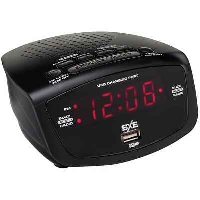 SXE SXE86001X 86001X LED Clock Radio with 1-Amp USB