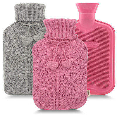 2L Large Rubber Hot Water Bag Bottle w/Cotton Knitted Cover For Menstrual Pain