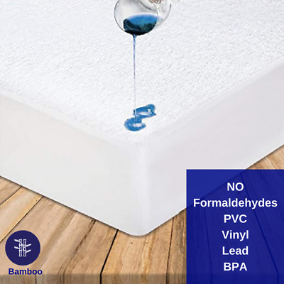 Eco Friendly - Bamboo Mattress Protector Waterproof - Fitted - Vinyl/PVC FREE