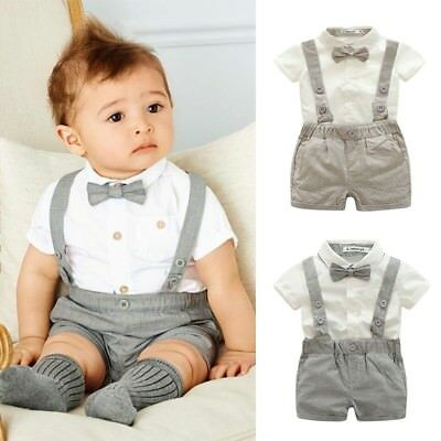Baby Boys Wedding Formal Suit Short Sleeve Bowtie Gentleman Romper Tuxedo Outfit