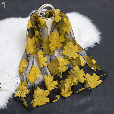 UK_ Women's Fashion Elegant Flower Organza Long Wrap Scarf Soft Shawl Lady Gift