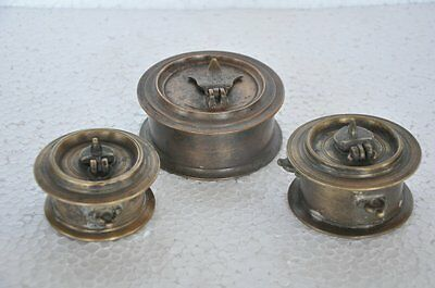 3 Pc Old Brass Handcrafted Unique Shape Solid Inkpot / Well , Rich Patina