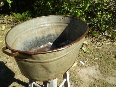 vintage oval wash tub galvanised metal great for garden man cave decorator item